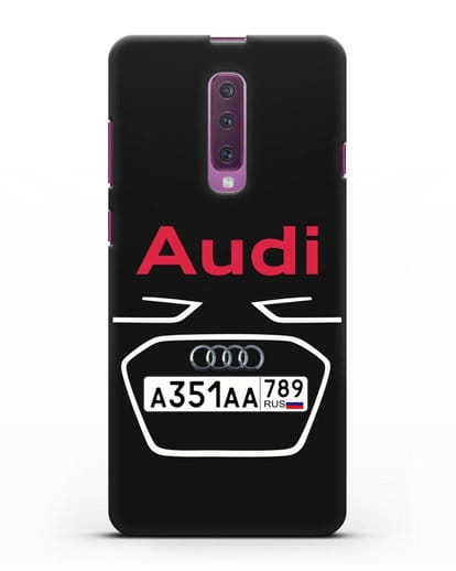 Чехол Ауди с номерным знаком силикон черный для Samsung Galaxy A90 [SM-A908N]