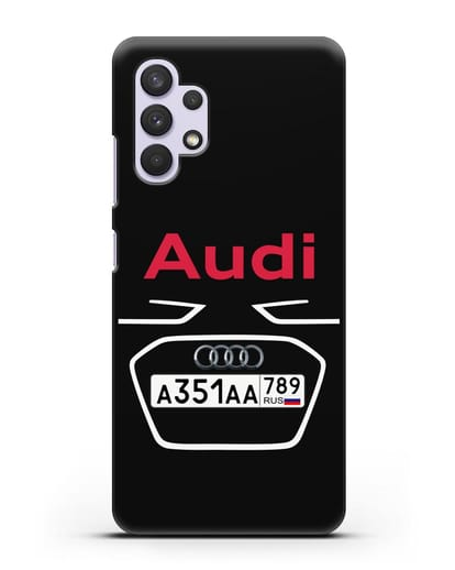 Чехол Ауди с номерным знаком силикон черный для Samsung Galaxy A32 5G [SM-A326B]