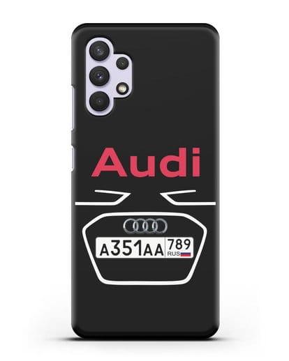 Чехол Ауди с номерным знаком силикон черный для Samsung Galaxy A32 4G [SM-A325F]