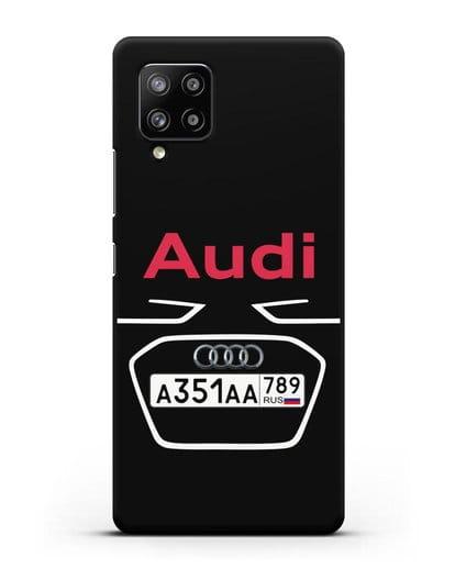 Чехол Ауди с номерным знаком силикон черный для Samsung Galaxy A42 [SM-A426B]