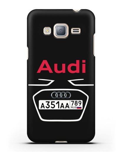 Чехол Ауди с номерным знаком силикон черный для Samsung Galaxy J3 2016 [SM-J320F]