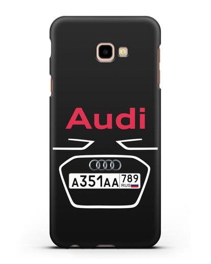 Чехол Ауди с номерным знаком силикон черный для Samsung Galaxy J4 Plus [SM-J415]