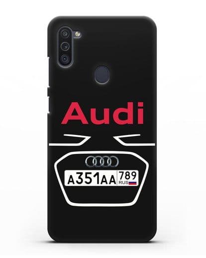 Чехол Ауди с номерным знаком силикон черный для Samsung Galaxy M11 [SM-M115F]