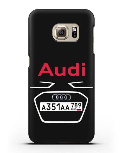 Чехол Ауди с номерным знаком силикон черный для Samsung Galaxy S6 Edge [SM-G925F]
