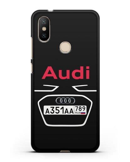 Чехол Ауди с номерным знаком силикон черный для Xiaomi Mi A2