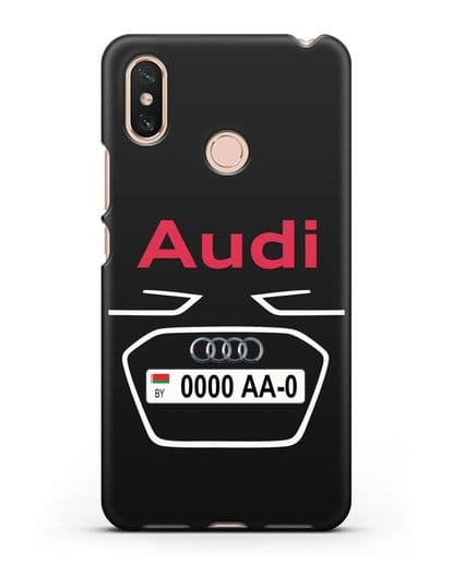 Чехол Ауди с номерным знаком силикон черный для Xiaomi Mi Max 3