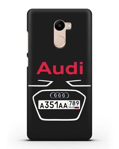 Чехол Ауди с номерным знаком силикон черный для Xiaomi Redmi 4