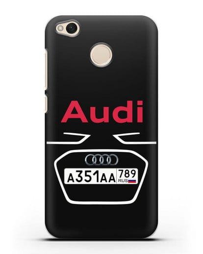 Чехол Ауди с номерным знаком силикон черный для Xiaomi Redmi 4X