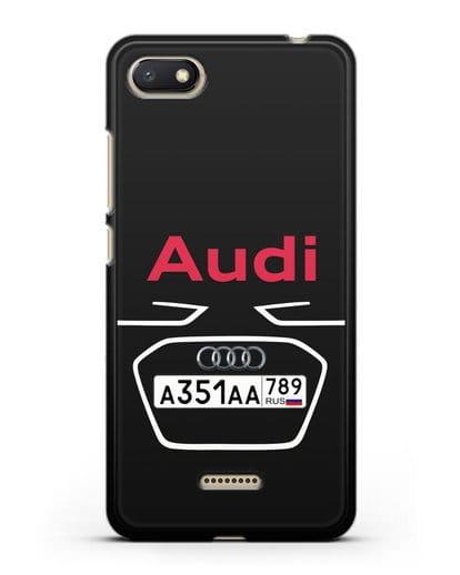 Чехол Ауди с номерным знаком силикон черный для Xiaomi Redmi 6A