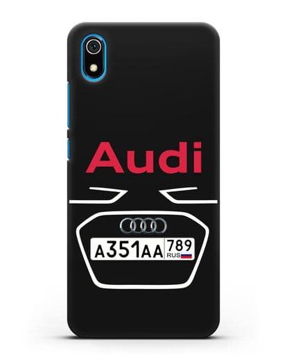 Чехол Ауди с номерным знаком силикон черный для Xiaomi Redmi 7A
