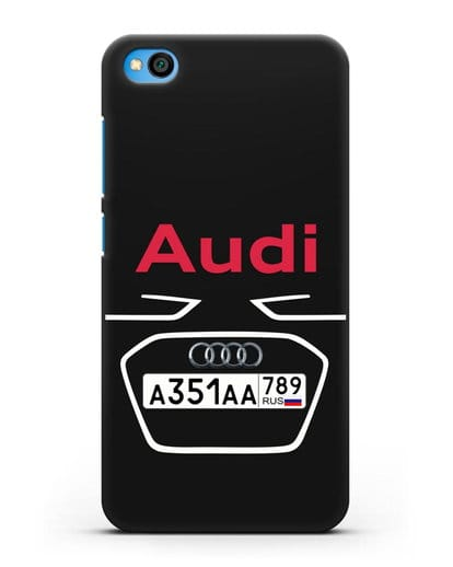 Чехол Ауди с номерным знаком силикон черный для Xiaomi Redmi Go