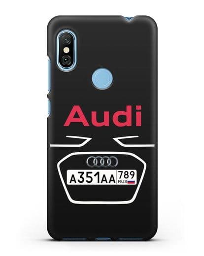 Чехол Ауди с номерным знаком силикон черный для Xiaomi Redmi Note 6 Pro