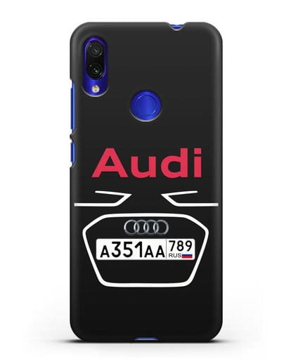 Чехол Ауди с номерным знаком силикон черный для Xiaomi Redmi Note 7