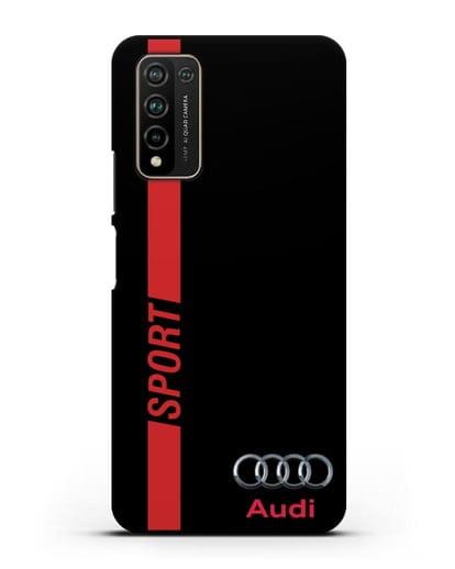 Чехол с надписью Audi Sport силикон черный для Honor 10X Lite