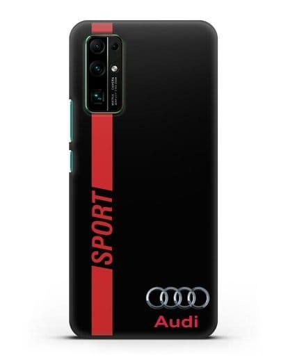Чехол с надписью Audi Sport силикон черный для Honor 30