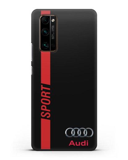 Чехол с надписью Audi Sport силикон черный для Honor 30 Pro