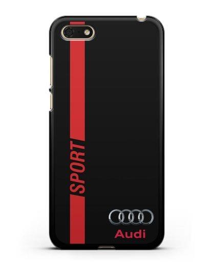 Чехол с надписью Audi Sport силикон черный для Honor 7А