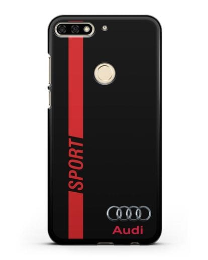 Чехол с надписью Audi Sport силикон черный для Honor 7C