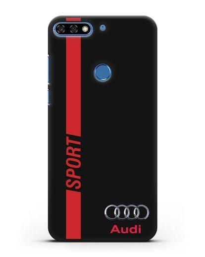 Чехол с надписью Audi Sport силикон черный для Honor 7C Pro