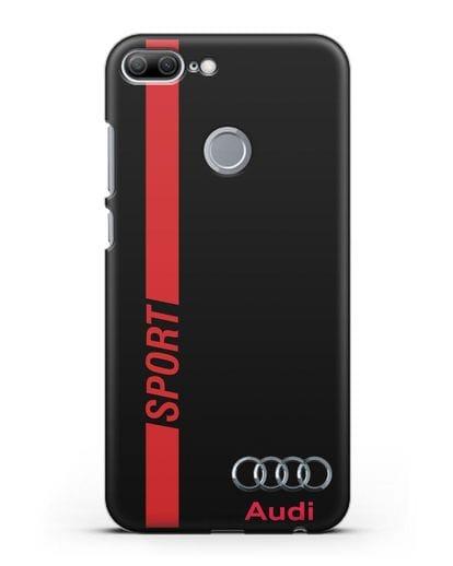 Чехол с надписью Audi Sport силикон черный для Honor 9 Lite