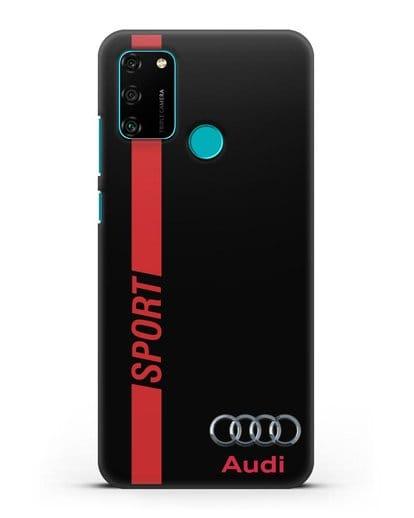 Чехол с надписью Audi Sport силикон черный для Honor 9A