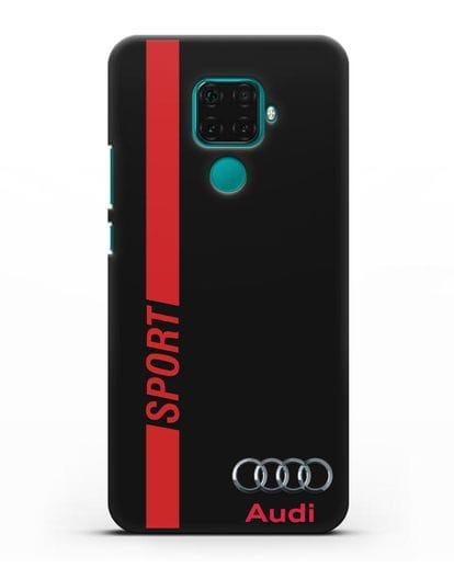 Чехол с надписью Audi Sport силикон черный для Huawei Mate 30 Lite