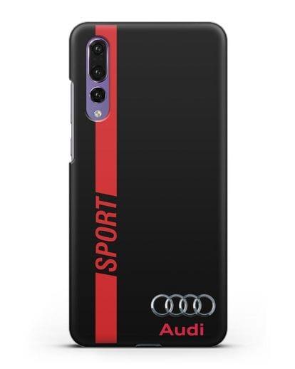 Чехол с надписью Audi Sport силикон черный для Huawei P20 Pro