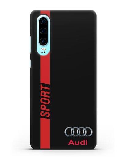 Чехол с надписью Audi Sport силикон черный для Huawei P30