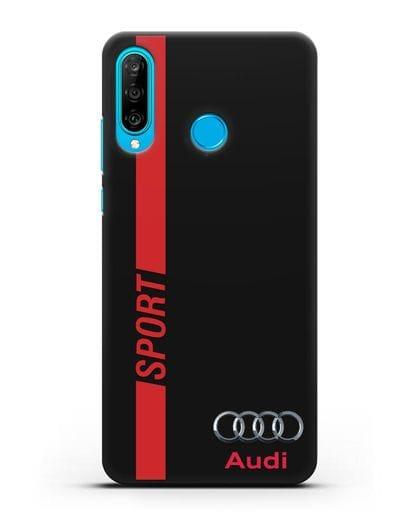 Чехол с надписью Audi Sport силикон черный для Huawei P30 Lite