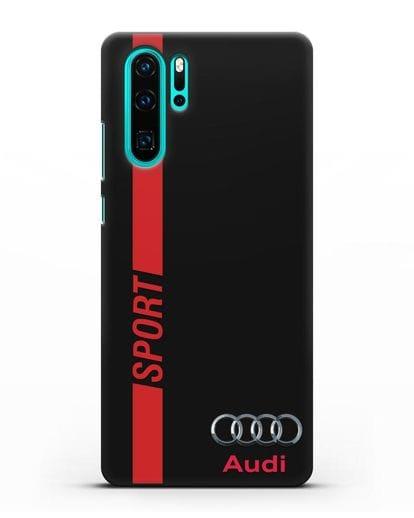 Чехол с надписью Audi Sport силикон черный для Huawei P30 Pro