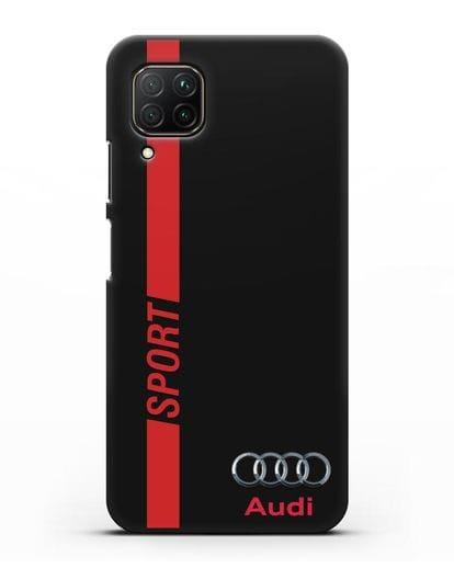 Чехол с надписью Audi Sport силикон черный для Huawei P40 lite