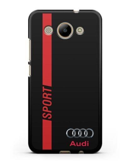 Чехол с надписью Audi Sport силикон черный для Huawei Y3 2017
