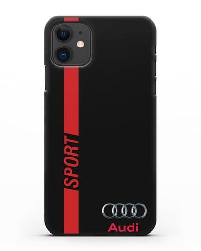Чехол с надписью Audi Sport силикон черный для iPhone 11