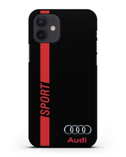 Чехол с надписью Audi Sport силикон черный для iPhone 12
