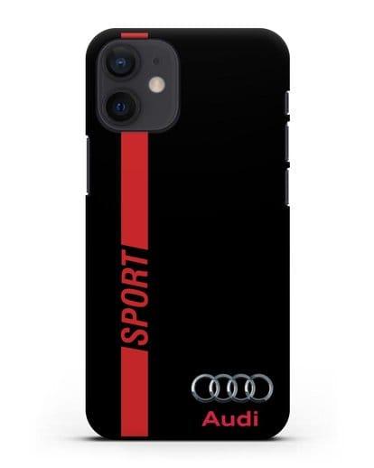 Чехол с надписью Audi Sport силикон черный для iPhone 12 mini