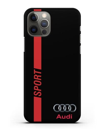 Чехол с надписью Audi Sport силикон черный для iPhone 12 Pro