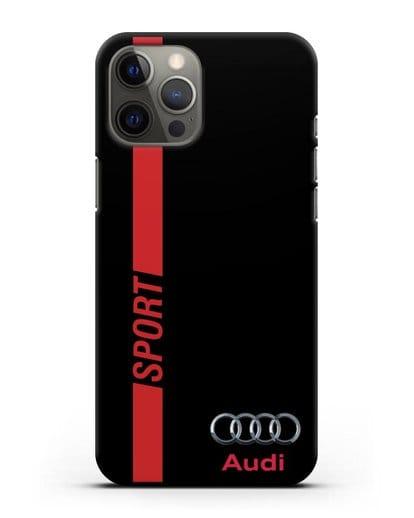 Чехол с надписью Audi Sport силикон черный для iPhone 12 Pro Max