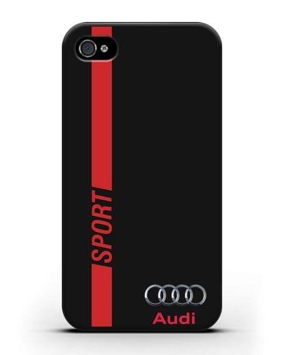 Чехол с надписью Audi Sport силикон черный для iPhone 4/4s