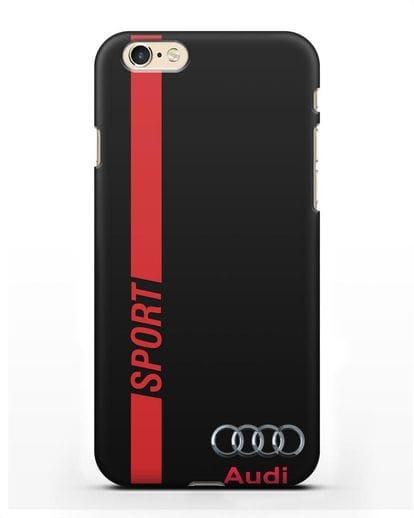 Чехол с надписью Audi Sport силикон черный для iPhone 6