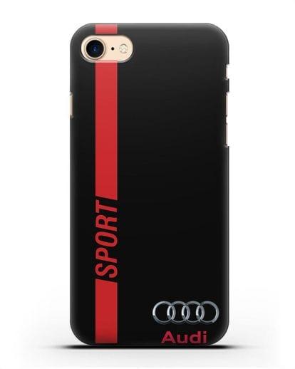 Чехол с надписью Audi Sport силикон черный для iPhone 8