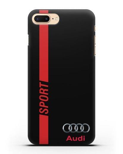Чехол с надписью Audi Sport силикон черный для iPhone 7 Plus