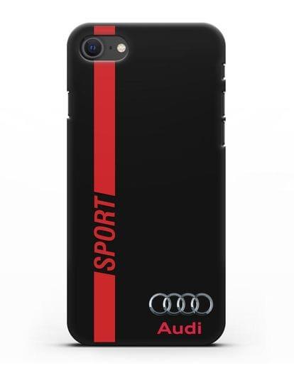 Чехол с надписью Audi Sport силикон черный для iPhone SE 2020