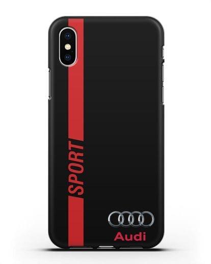 Чехол с надписью Audi Sport силикон черный для iPhone X