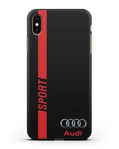 Чехол с надписью Audi Sport силикон черный для iPhone XS Max