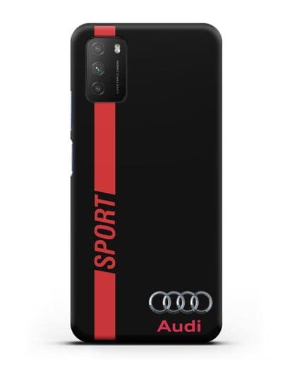Чехол с надписью Audi Sport силикон черный для Xiaomi Poco M3