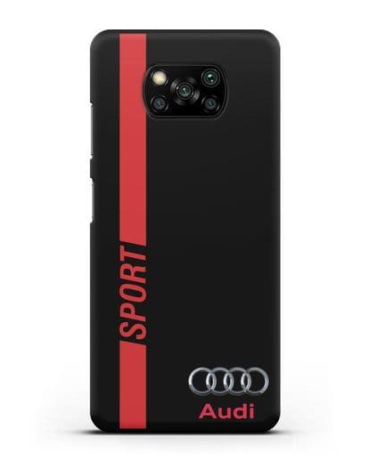 Чехол с надписью Audi Sport силикон черный для Xiaomi Poco X3