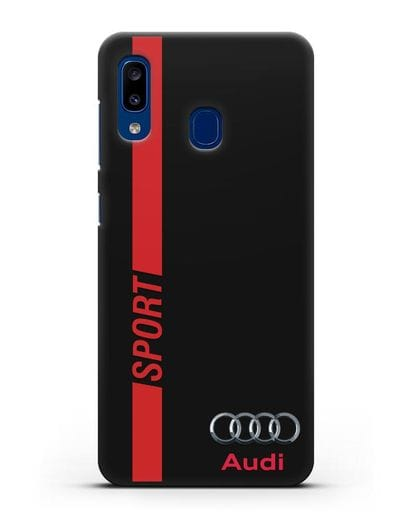 Чехол с надписью Audi Sport силикон черный для Samsung Galaxy A20 [SM-A205FN]