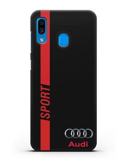 Чехол с надписью Audi Sport силикон черный для Samsung Galaxy A30 [SM-A305FN]