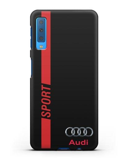 Чехол с надписью Audi Sport силикон черный для Samsung Galaxy A7 2018 [SM-A750F]