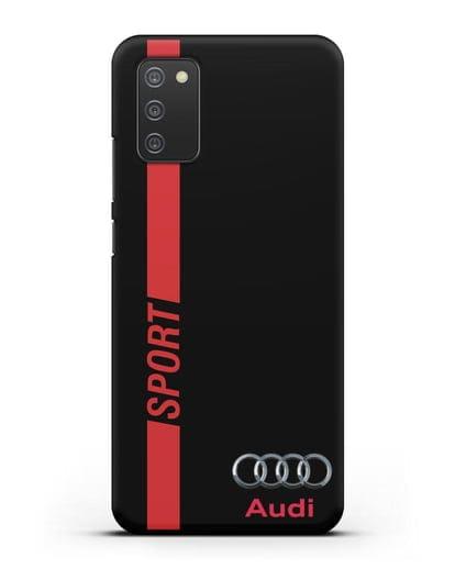 Чехол с надписью Audi Sport силикон черный для Samsung Galaxy A02s [SM-A025F]